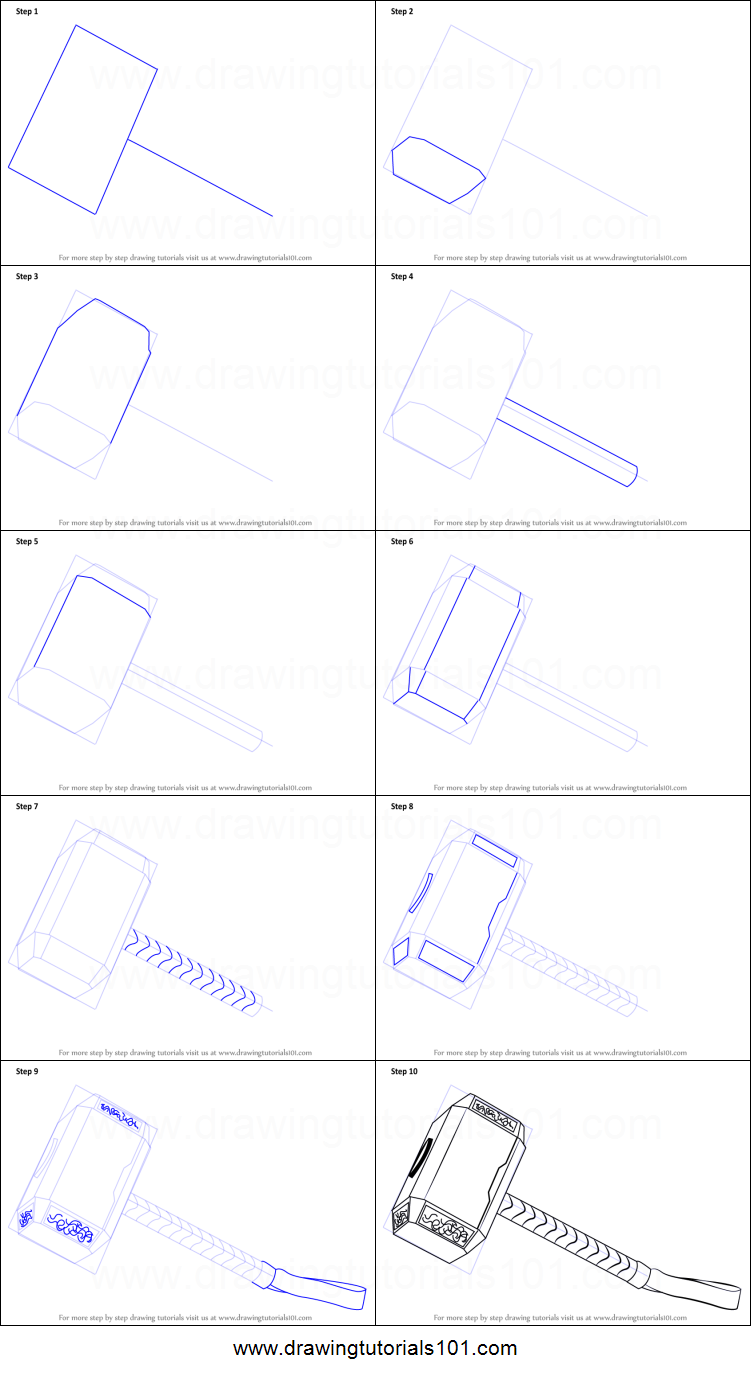 How to draw thors hammer printable step by step drawing sheet drawingtutorials101 com