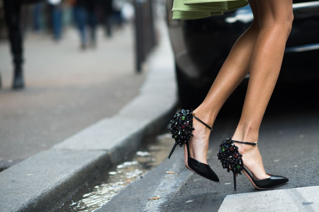 W Magazine Diamonds on the soles of her shoes.  Photograph by Adam Katz Sinding.