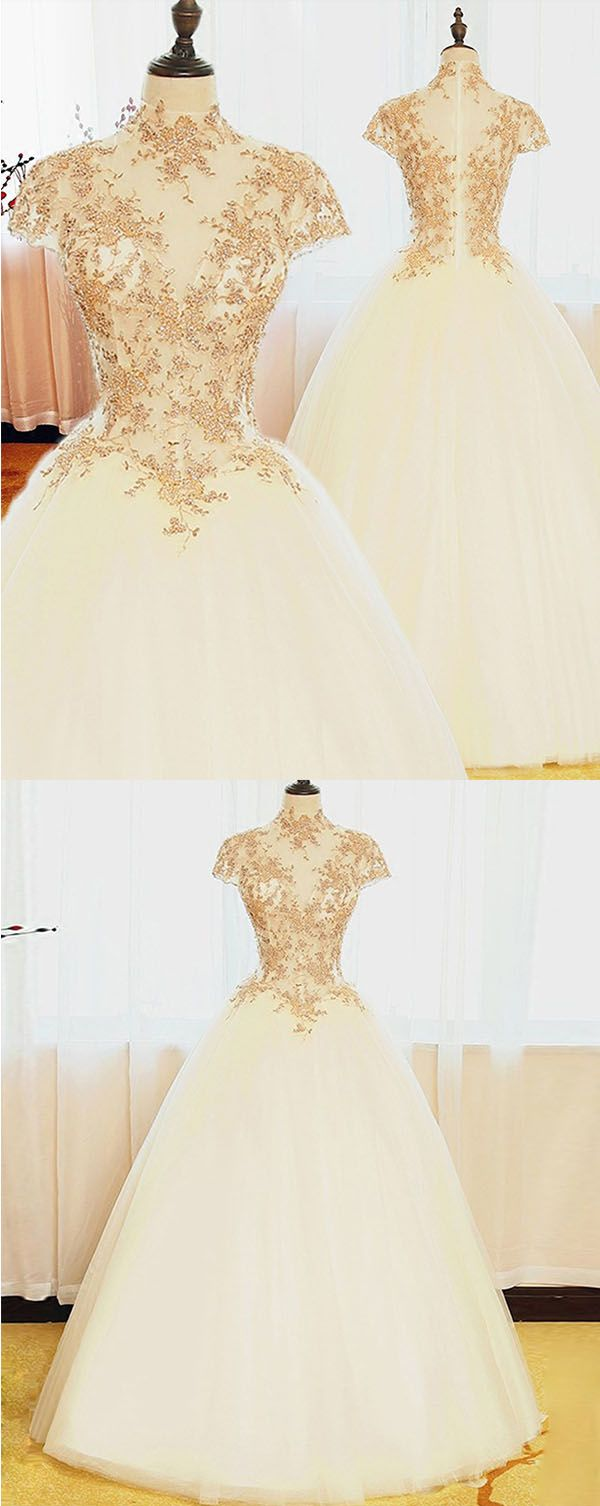 Ball gown high neck cap sleeves wedding dress with gold beading