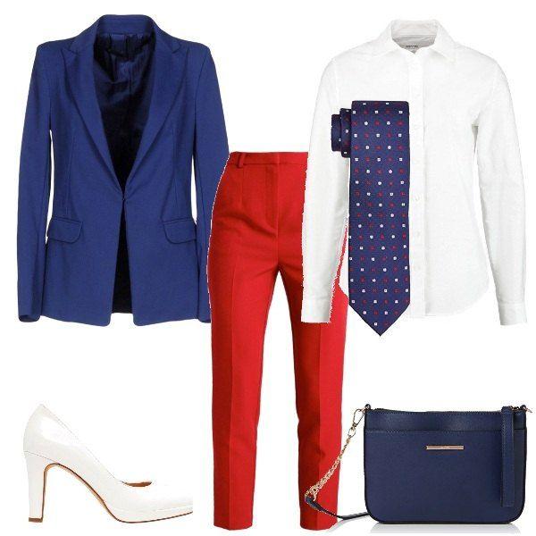 pantaloni e giacca blu pois rossi