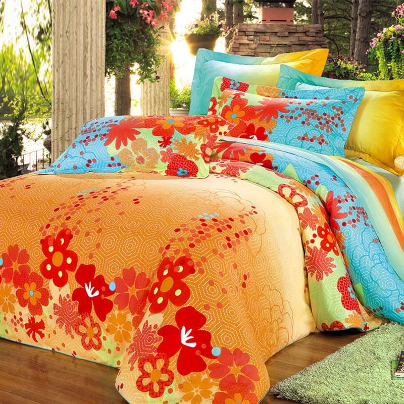 Orange Green And Blue Bright Colorful Geometric Pentagon And Floral Print Full Queen Size 100 Cotton Bed Bright Bedding Sets Bedding Sets Cotton Bedding Sets Bright colored bedding sets