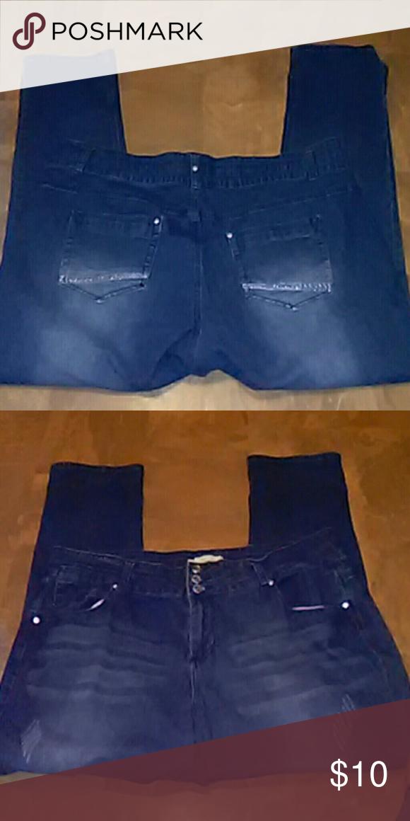 Cotton FarmFive Pocket Stretch Jeans SZ 22 Plus Five Distressed Lightweight