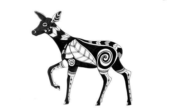 Line Drawing Deer : Deer art