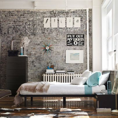 Painted brick wall painted brick pinterest painted for Bedroom w brick wall