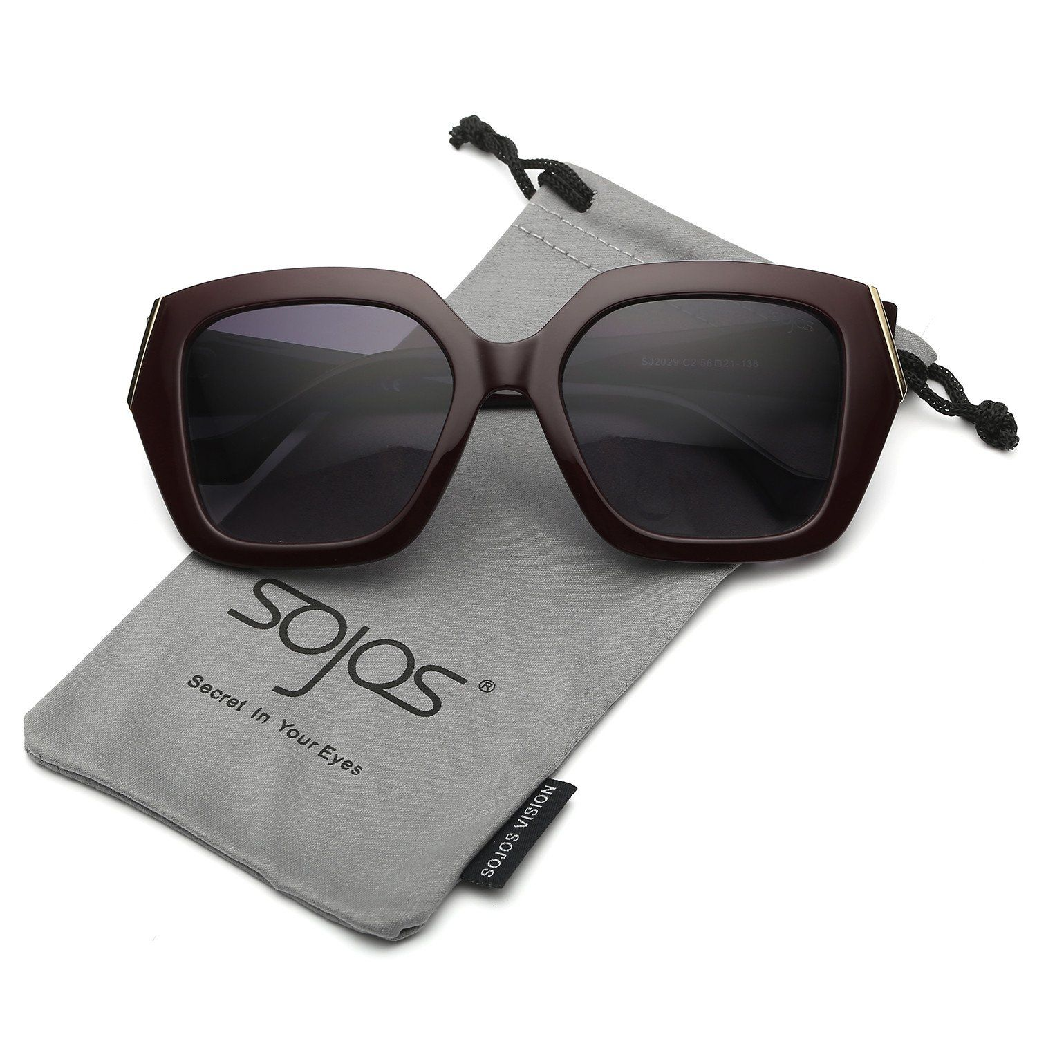 63d6b40e652 SojoS Oversized Fashion Square Frame UV400 Womens Sunglasses SJ2027 SJ2029