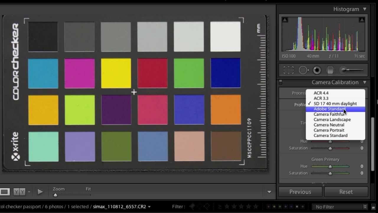 Lightroom color profile