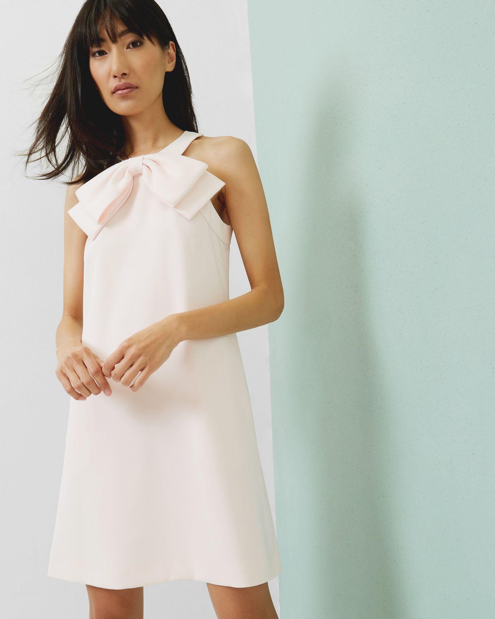 Kleid in A-Linie mit Schleife - Babyrosa | Kleider | Ted Baker ...