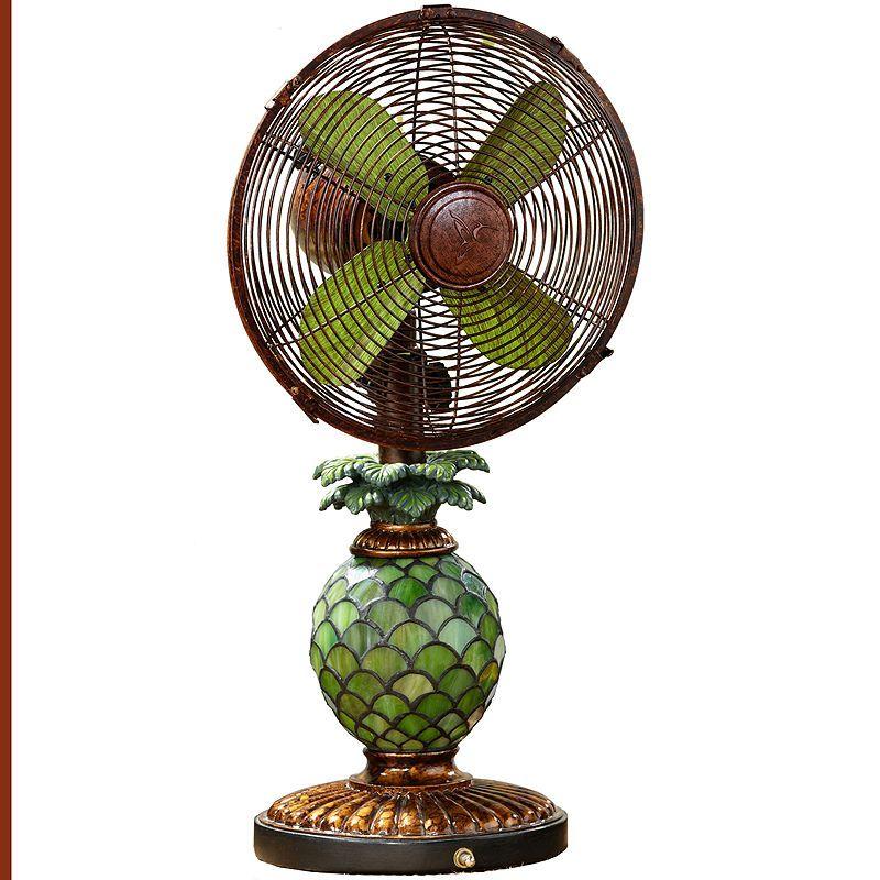 Deco Breeze Pineapple Mosaic Glass Table Fan Light Fan Lamp Pineapple Lamp Table Fan