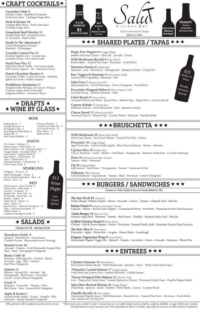 Food Menu Salut Kitchen Bar Restaurant And Wine Bar