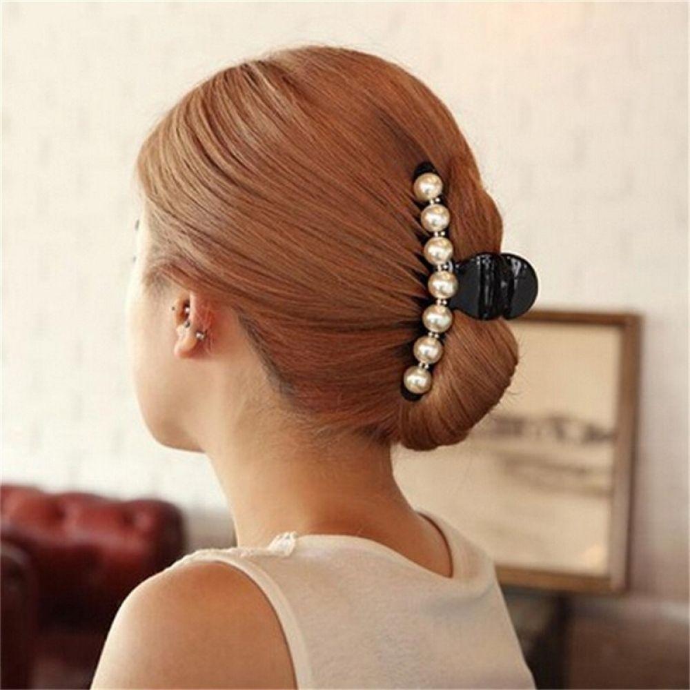 Trendy Imitation Pearl Bow Hairpin Clip Girl Hair Claw Bead Hair Accessories