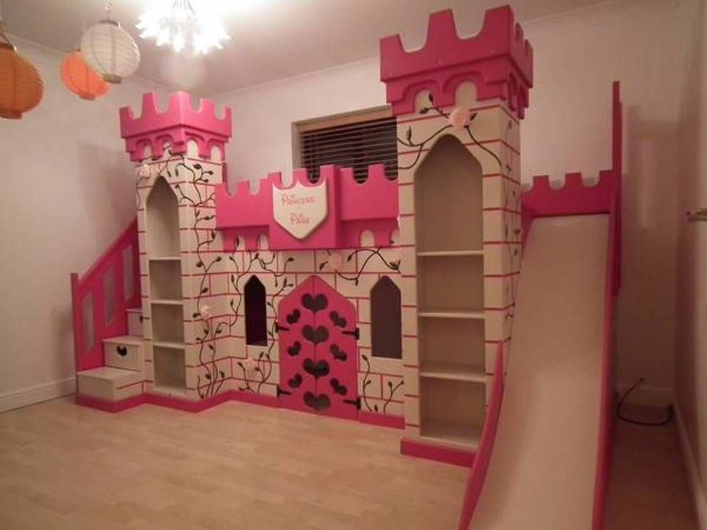 Adorable The Princess Castle Bunk Bed With Slide And Bookshelves