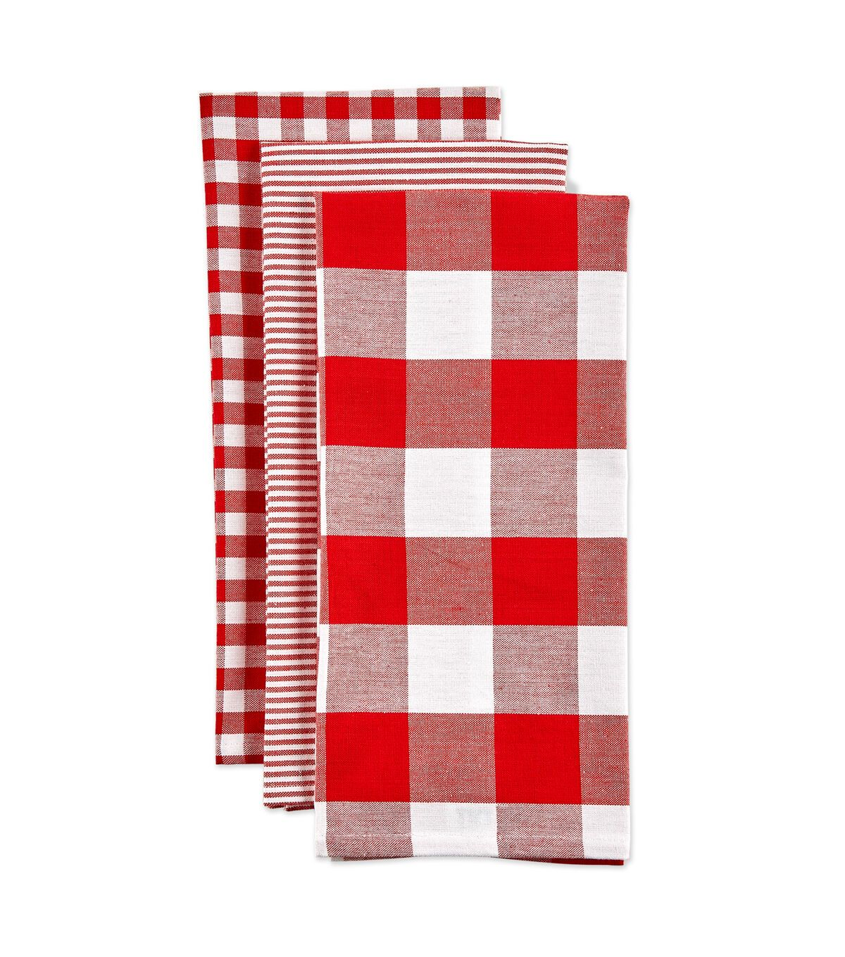 Design Imports Mixed Check Kitchen Towel Set Red White Towel