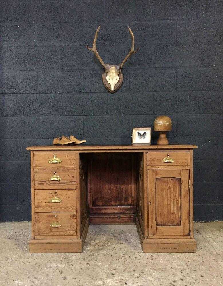 Superb Vintage Antique Rustic Pine Pedestal Shop Counter Desk