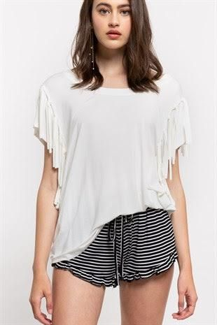 BOAT NECK TEE WITH FUN FRINGE DETAIL!