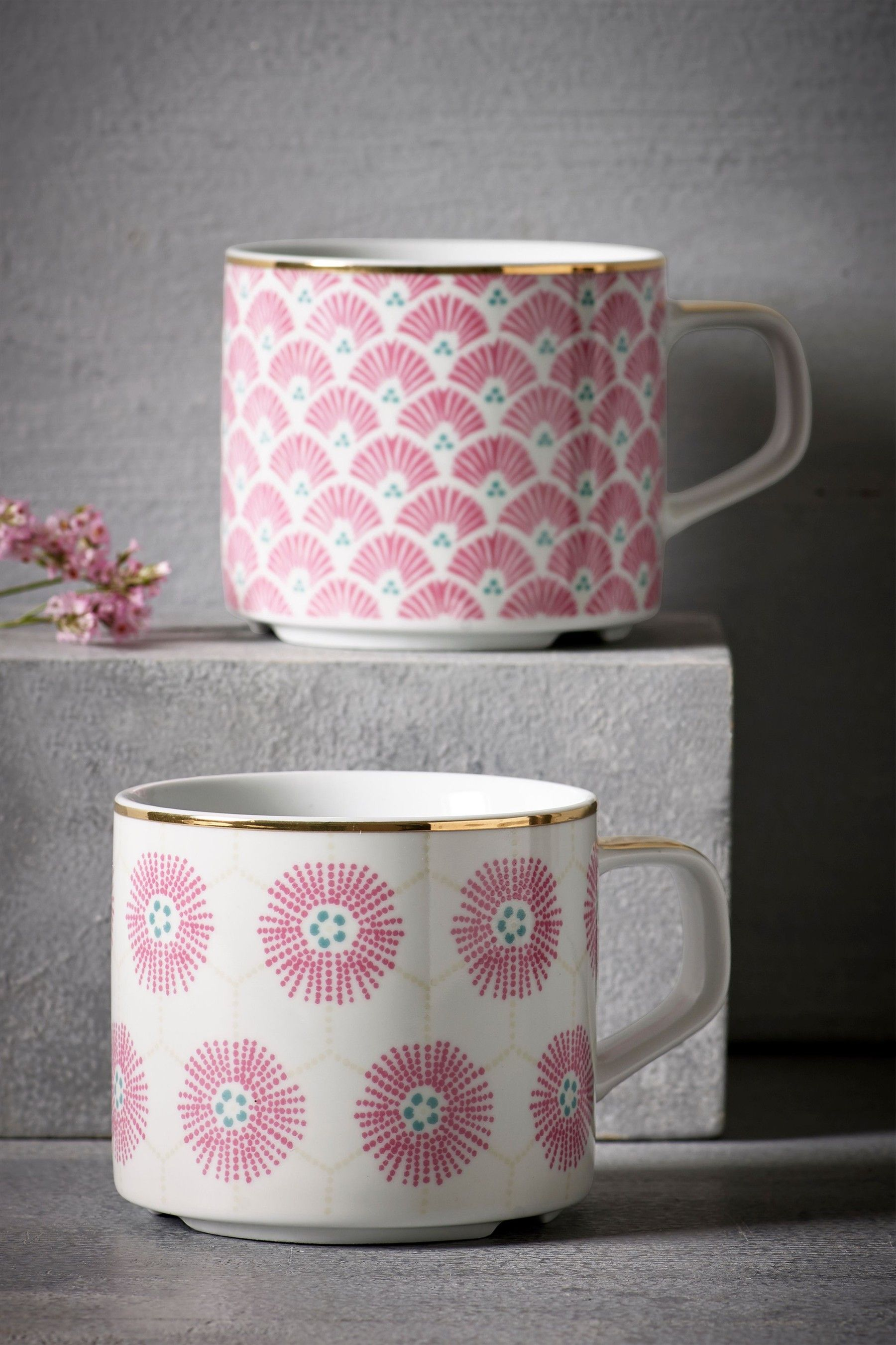 Next Set Of 2 Fl Stackable Mugs