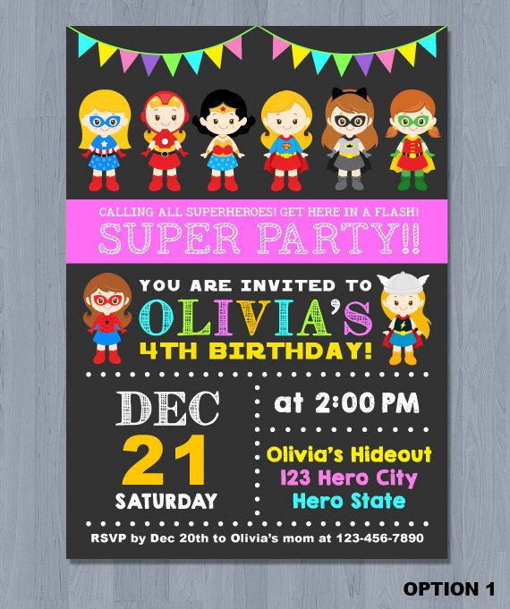 printable superhero birthday party invitation girl superhero party