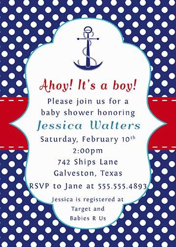 PRINTABLE Anchor Nautical Sailing Navy Red White by NotableAffairs - baby shower invitations words