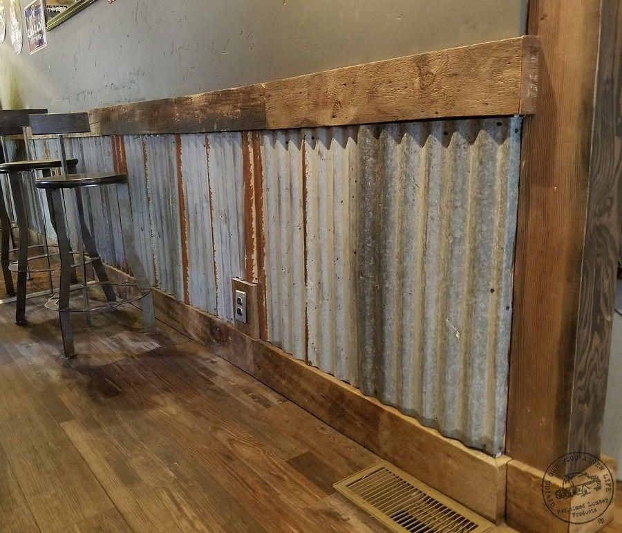 Home Bar Basement Corrugated Metal Wall Tin Wainscoting Corrugated Roofing