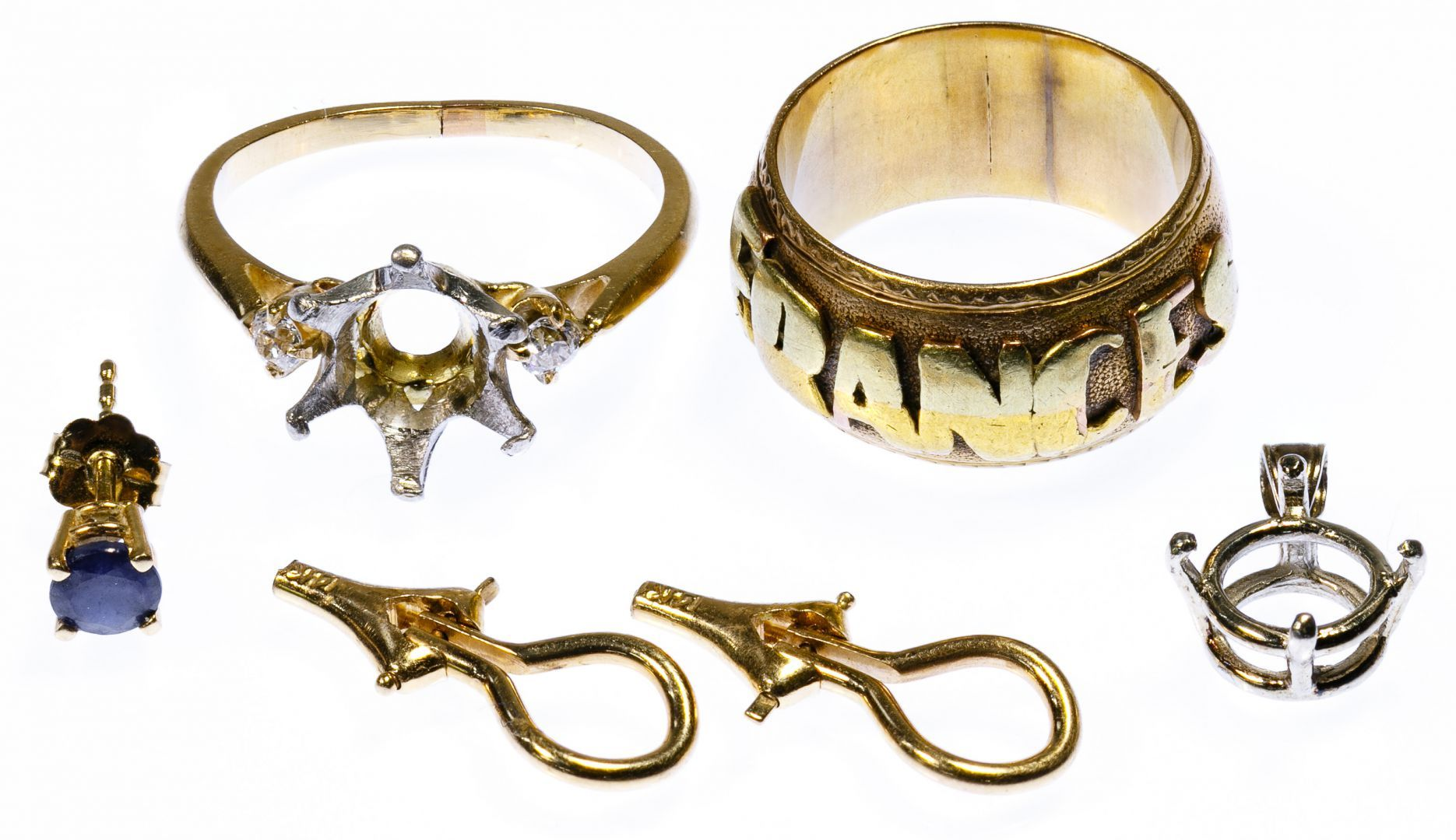 Lot 219 14k gold band ring marked 14k together with