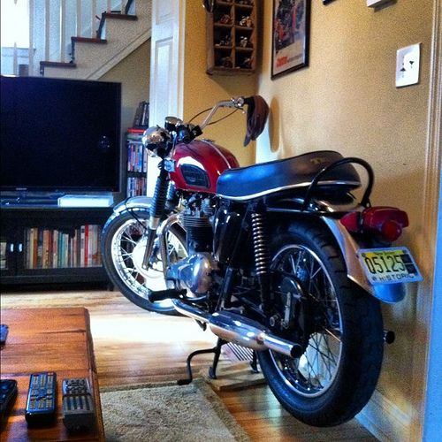Triumph Motorcycle In The Livingroom Triumph Triumph Motorcycles Triumph Bikes Triumph Cafe Racer