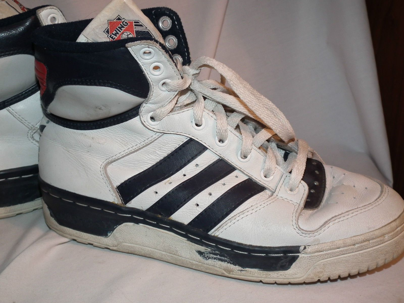 Vintage 80s Adidas Ewing Conductor Hi C Leather High Tops Shoes Mens Boys 5  5 |