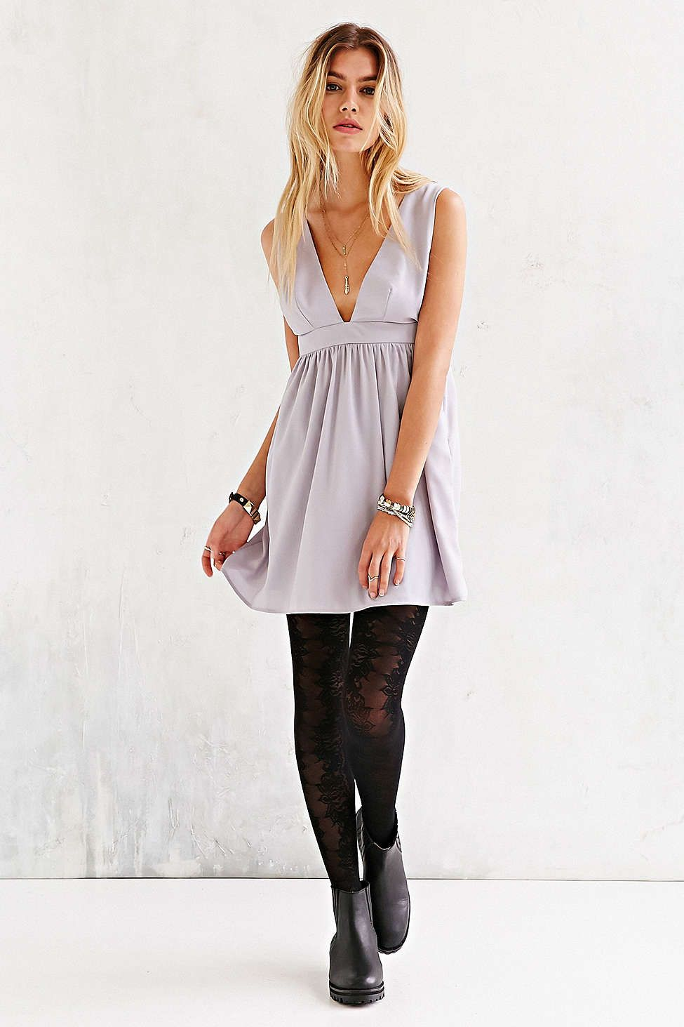 Oh My Love Lilac Plunging Skater Dress