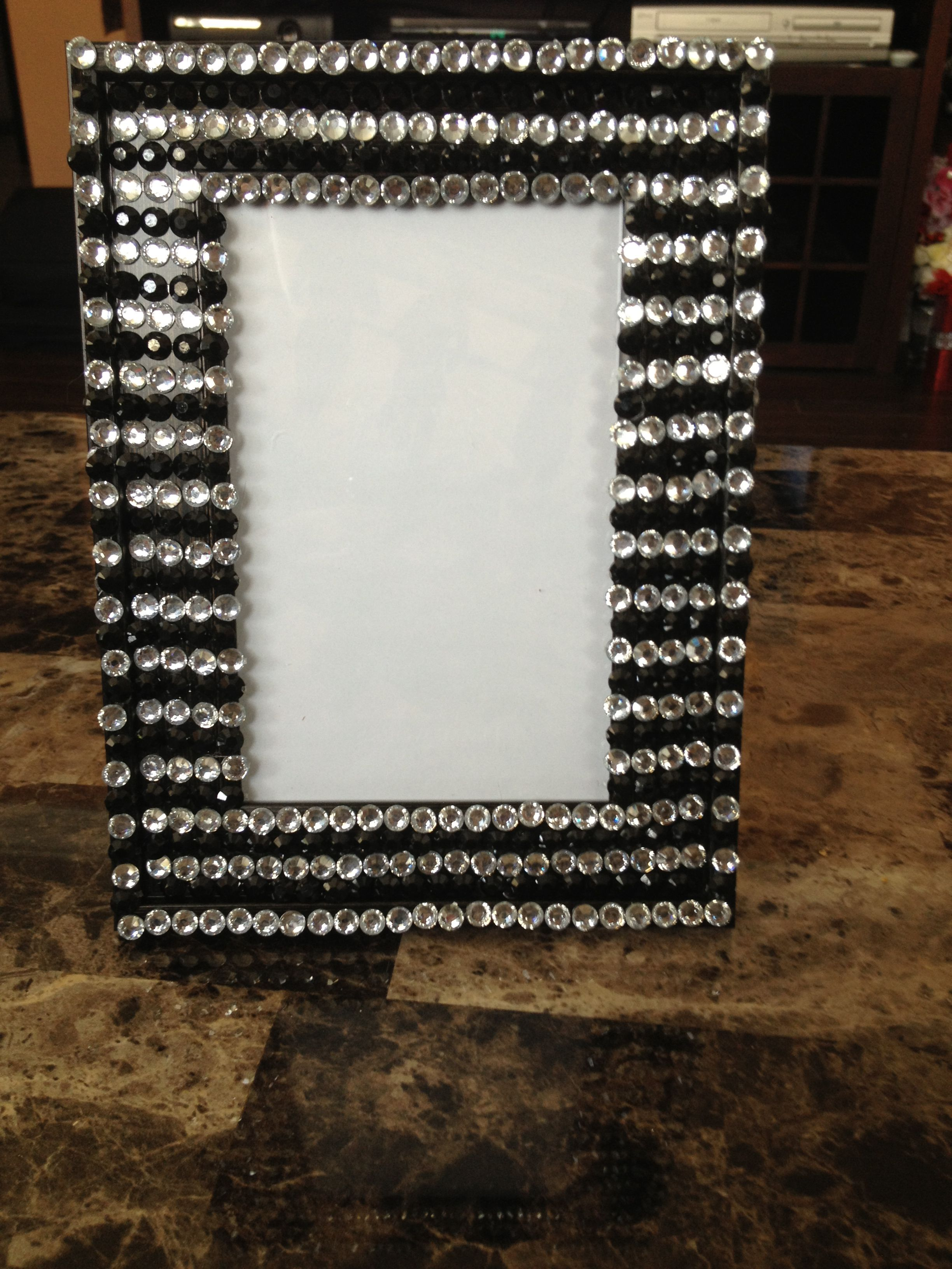 Black and white rhinestone picture frame bombiniere | Home decor ...