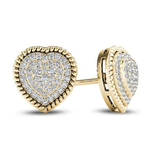 Zales 1/10 CT. T.w. Diamond Solitaire Square Stud Earrings in 10K Gold KBxyq