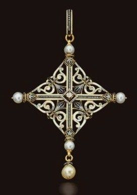 Antique Cross Pearl Pendant