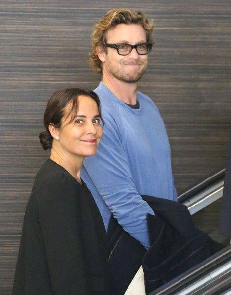 Simon Baker and Rebecca Rigg at LAX