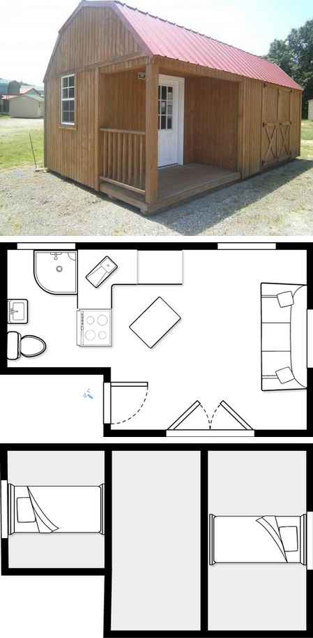 This Shows The General Layout I Want Pictured Is A 12x20 Mine Will Be 12x30 So I Will Be Adding A Bedroom O In 2020 Tiny House Plans Small House Plans