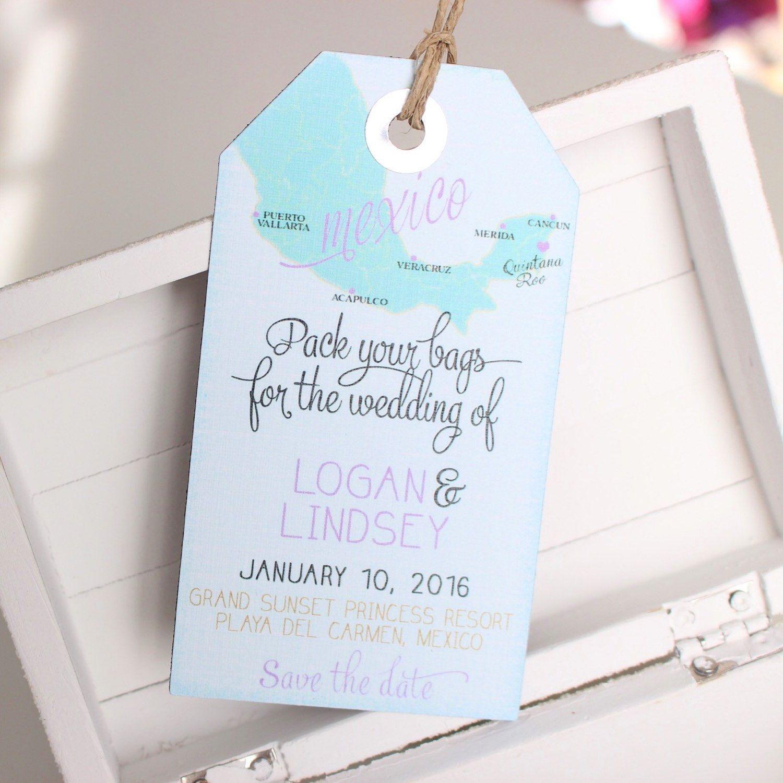 custom map- save the date luggage tag magnet. destination wedding, Wedding invitations