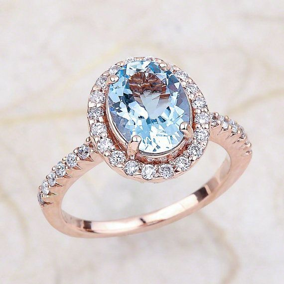 Photo of Aquamarine Engagement Ring Rose Gold / March Birthstone Halo Engagement Ring / Oval Cut Faceted Aquamarine Birthday Gift