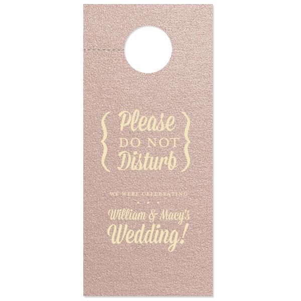 Custom Stardream Rose Gold Door Hanger with Matte Ivory on ForYourParty.com