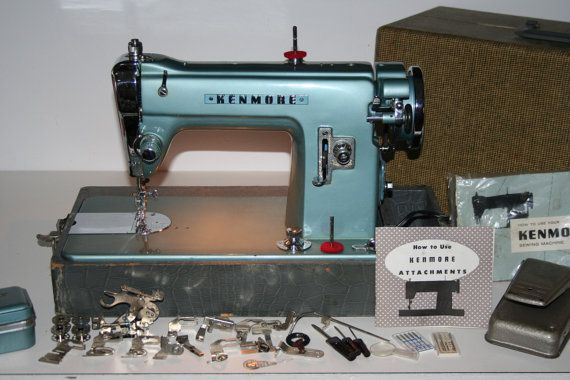 Gorgeous Powerful Blue And Chrome Kenmore Sewing Machine With Case New Blue Kenmore Sewing Machine
