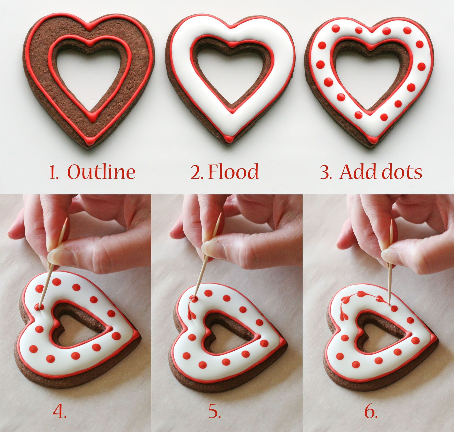 simple heart valentines cookies decorating how to - Decorated Valentine Cookies