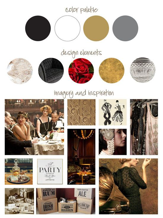 roaring 20s / speakeasy themed birthday party event vision ...   Roaring 20s Colors