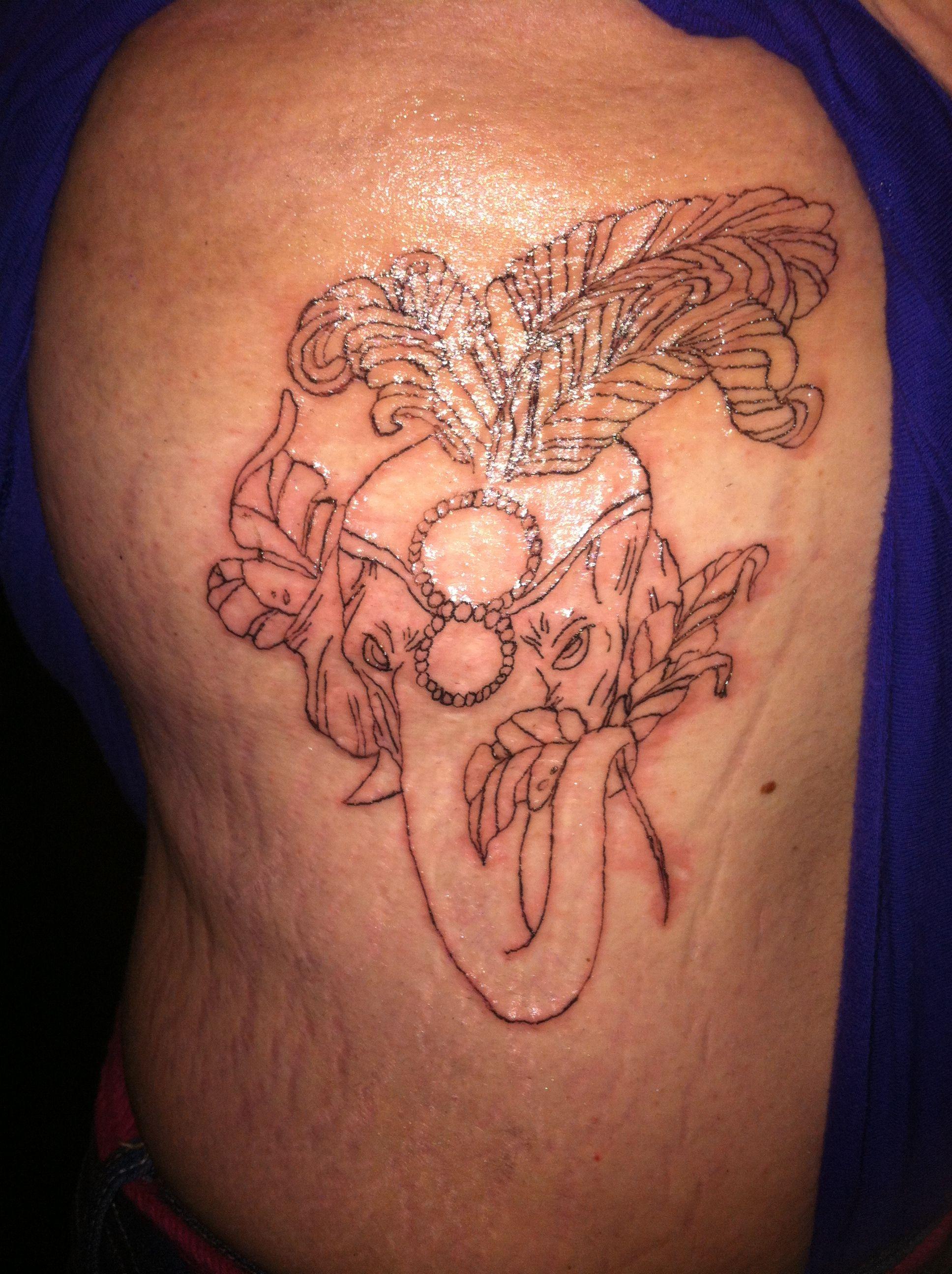 Elephant Head Dress Outline Tattoo Tattoos Pinterest