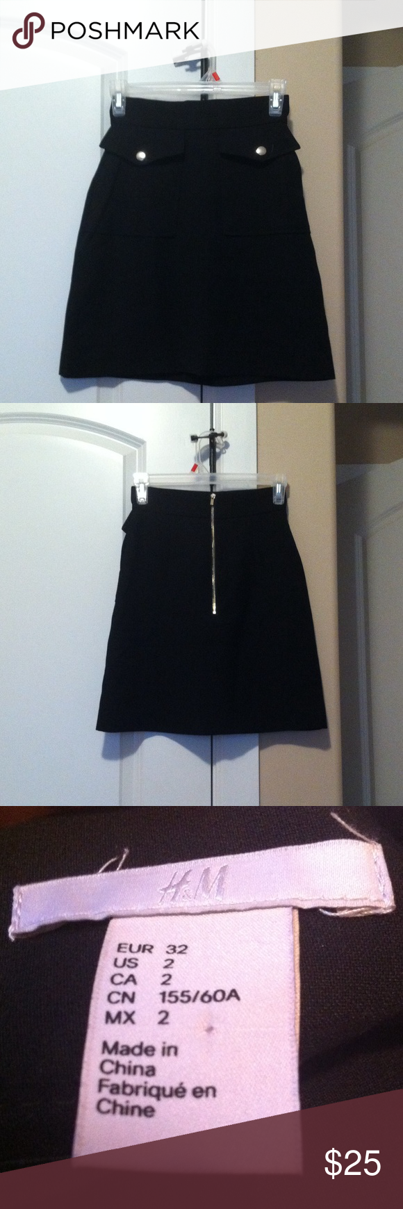 An H&M skirt. This chic H&M skirt comes with two front decorative pockets and a sleek back zipper. It has two discreet usable pockets on the sides of the fake ones. H&M Skirts A-Line or Full