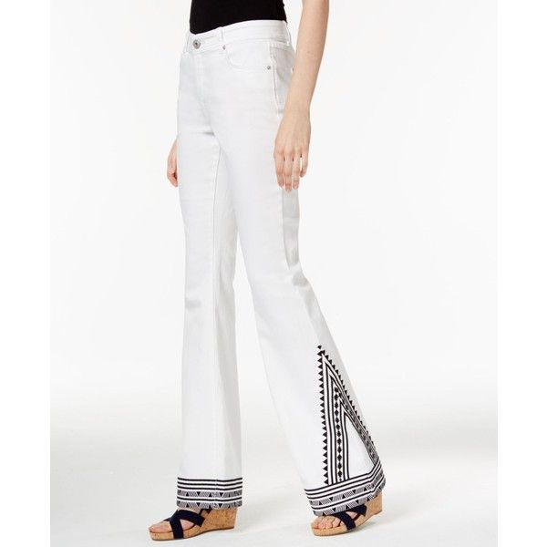Inc International Concepts Embroidered White Wash Flared Jeans ...