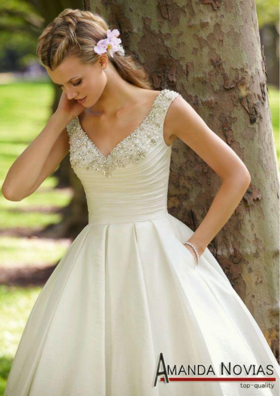 Elegant Cream Color Tea Length Wedding Dresses With Strap MRILEE 04 View