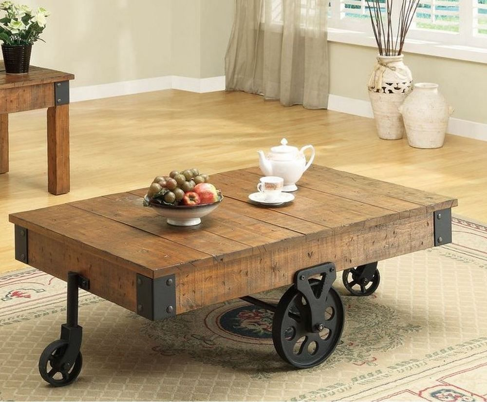 Coffee Side Table End Wooden Farm Wagon Iron Caster Wheel Sofa