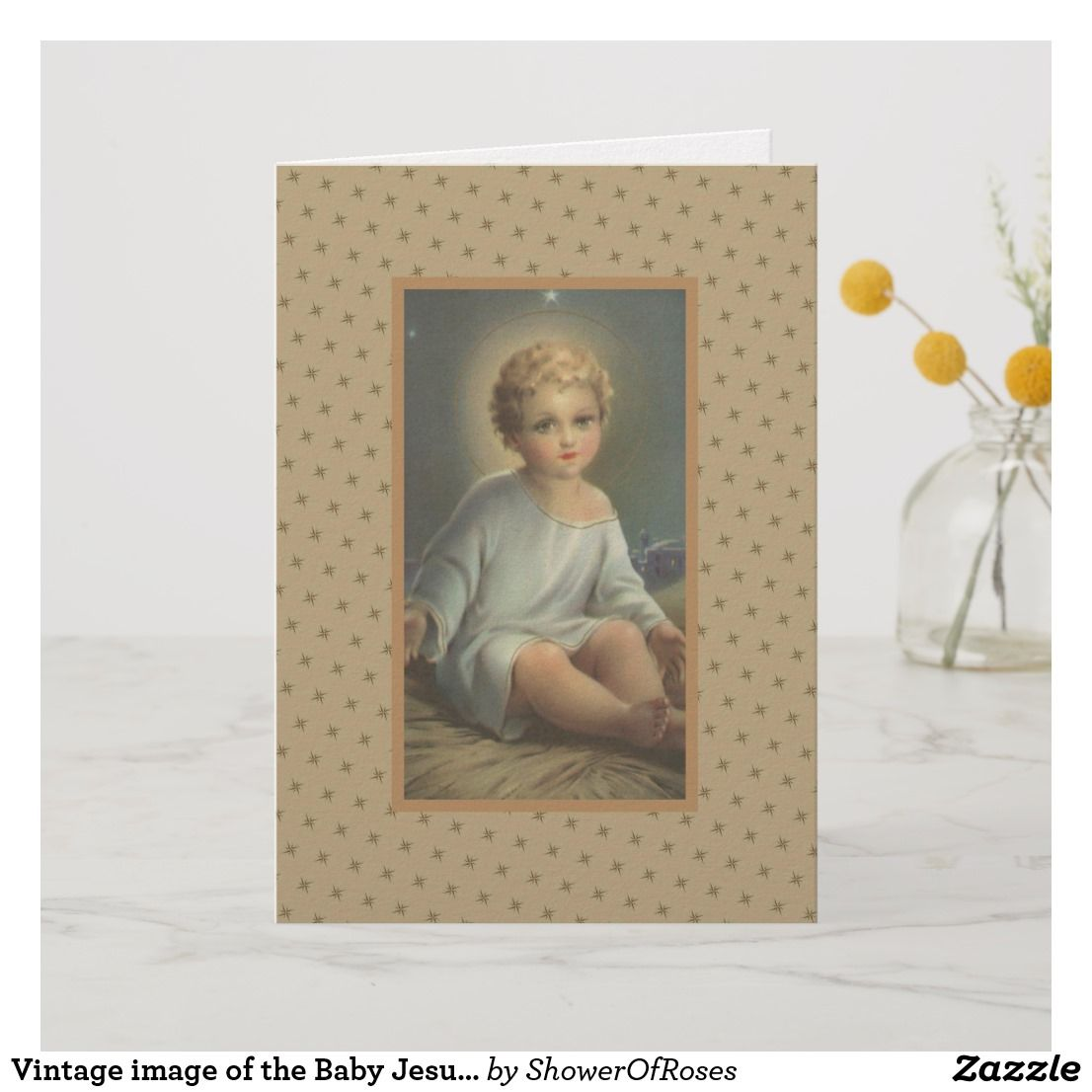 Vintage Image Of The Baby Jesus Christmas Thank You Card Christmas