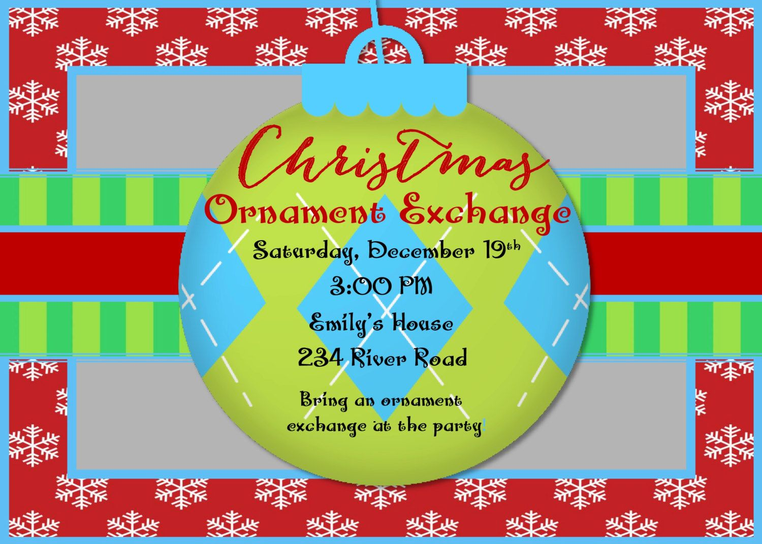 Ornament Swap Christmas Party |Dirty Santa Christmas Invitation ...