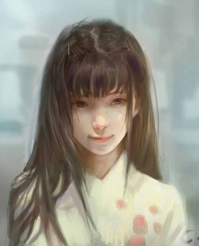 Girl With Long Brown Hair And Bangs Portrait Illustration Art Drawing Portrait Realistic Art Anime Art Girl