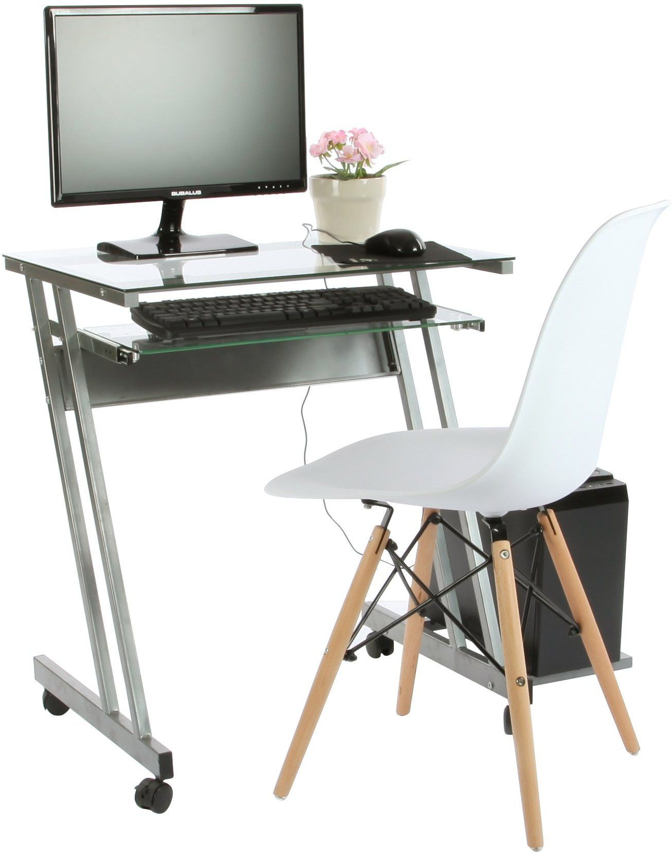 Vecelo Mobile Glass Computer Desk With Pull Out Keyboard Tray