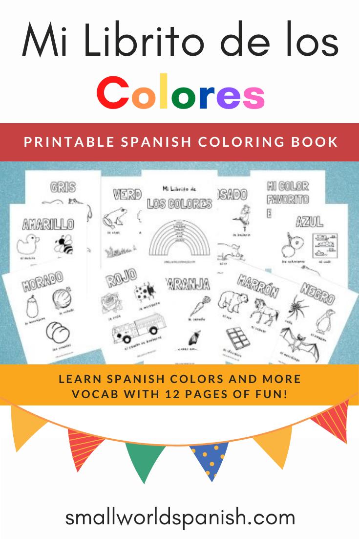 Mi Librito De Los Colores Spanish Coloring Book Dictionary For Kids Printable Coloring Book Picture Dictionary [ 1102 x 735 Pixel ]