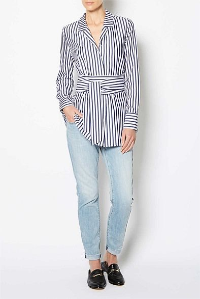 Wrap Stripe Shirt Tops Witchery Clothes Tops Shirts