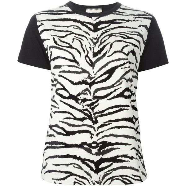 Fausto Puglisi Zebra Print T-Shirt ($193) ❤ liked on Polyvore featuring tops, t-shirts, cotton t shirt, zebra print tees, white tee, zebra top and white cotton t shirts