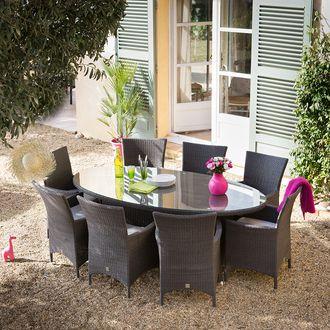 Salon jardin OVALANG GreenPath 8 places Résine tressée cacao Table ...